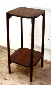 Antique Vintage Solid Wood Wooden 2 Tier Side End Accent Table Plant Stand Shelf
