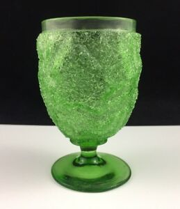 Antique Victorian Craquelle Overshot Glass Green 4 1 4 Footed Tumbler Goblet