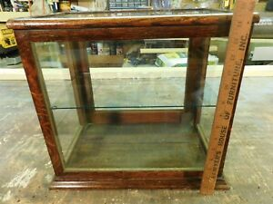 Antique Country Store Display Showcase Oak Quarter Sawn Wood Wavy Old Glass