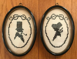 Pair Of Antique Victorian Framed Cross Stitch Silhouettes Gentleman Lady