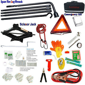 Roadside Auto Car Bag Accessories W Travel Roadside Emergency Kit Scissor Jack