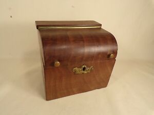 Antique French Wood Brass Bronze Hardware Hinged Small Box