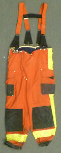 38x26 Janesville Red Pants With Suspenders Firefighter Turnout Fire Gear P968