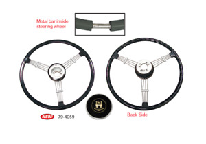 Empi 79 4059 Banjo Style Black 3 Spoke Steering Wheel 15 5 Diameter
