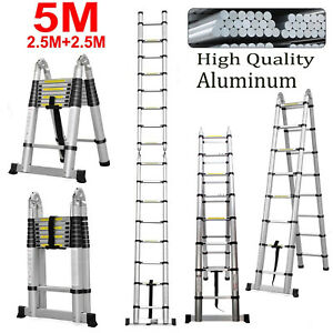 Folding Ladder Extendable Telescopic Stepladder 5m 16 5ft Aluminum150kg Maxload