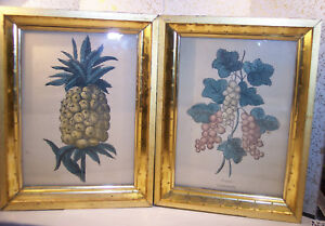 2 Antique Early American Period Frame 6 X 8 Gold Leaf Hnd Color Print Fruit