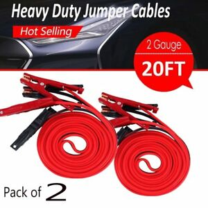 2x 20ft 2gauge 600 Amp Booster Jumper Cables Emergency Battery Cars Heavy Duty