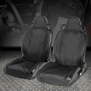 2 X Woven Fabric Black Stripe Universal Full Reclinable Sports Style Racing Seat