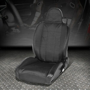 Pvc Leather Black Stripe Reclinable Sport Style Racing Seat Driver Left Side