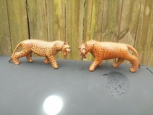 Vintage Hand Carved Wood Cheetahs Kenya