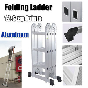 12 5ft 12 steps Multi Purpose Step Platform Aluminum Folding Scaffold Ladder