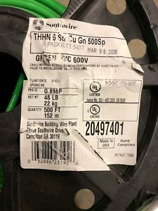 Southwire Building Wire 435 Ft 6 gauge Thhn Copper Stranded Pvc Insulated Green