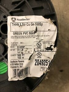 Southwire 500 Ft 8 Stranded Thhn Electrical Wire Green Copper Single Conductor