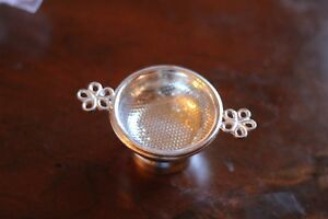 Tea Strainer Silver Plated W Drip Bowl Antique Reproduction Marlybone