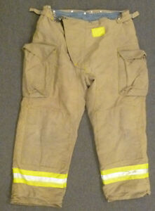 42x30 Firefighter Pants Bunker Fire Turn Out Gear Tan Brown Morning Pride P983
