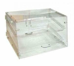 Small Bakery Display Case Box Front Rear Door Donuts Pastry Coffee Shop 2 tier