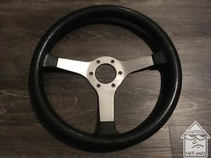 Vintage Izumi 360mm Black Rubber Steering Wheel Jdm Nardi Momo Rare