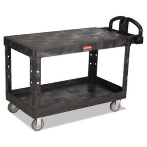 Rubbermaid 4545 Heavy Duty 2 shelf Utility Cart Large Black rcp4545bla
