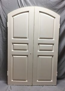 Antique Pair Arched Dome Top Wood Doors 20x61 Old Vintage 64 19c