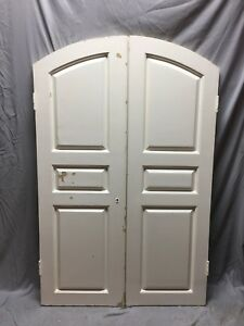 Antique Pair Arched Dome Top Wood Doors 20x61 Old Vintage 65 19c