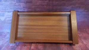 Vintage Retro Mid Century Old Hall Wooden Teak Serving Tray Snacks Table Center