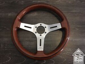 Vintage 350mm Oba Wood Steering Wheel Jdm Nardi Momo