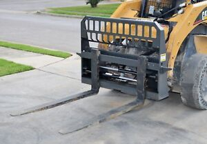 Bobcat Skid Steer Attachment 48 Hydraulic Shift Pallet Forks Ship 199