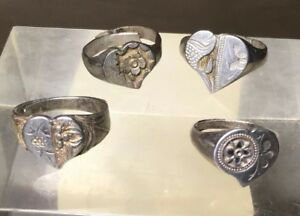4 Antique Silver Signed Heart Chinese Rings