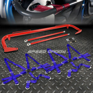 Red 49 Stainless Steel Chassis Harness Bar Blue 6 Pt Strap Camlock Seat Belt