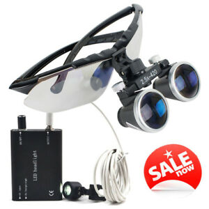 Usa Dental Surgical Medical Binocular Loupes 2 5x420mm Magnifier Led Head Light