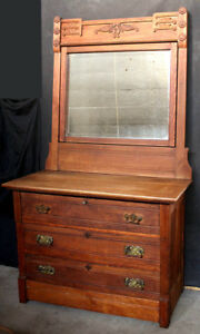 Antique Vintage Eastlake Oak Wood Wooden Dresser Chest Vanity Beveled Mirror Key