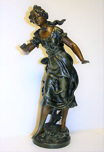 Antique French Spelter Sculpture Maiden Statue After Auguste Moreau Signed 17