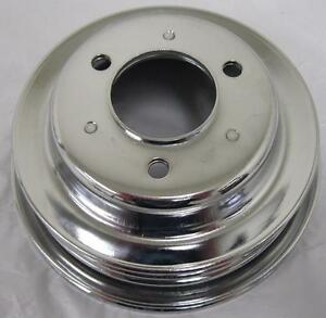 Bbc Chevy 3 Triple Groove Chrome Crankshaft Pulley Long Water Pump 396 427 454