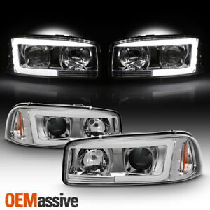 For 99 06 Gmc Sierra 1500 2500 Hd 3500 Yukon Xl Tube Led Projector Headlights