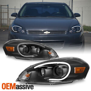Fits Black 2006 2013 Chevy Impala Light Bar Projector Front Lamps Headlights