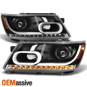 Fit 2009 2014 Dodge Journey Black Drl Light Tube Led Signal Projector Headlights