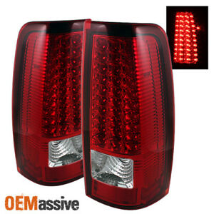 Fits 99 02 Silverado Sierra Pickup Red Clear Led Tail Lights Lamps Left Right