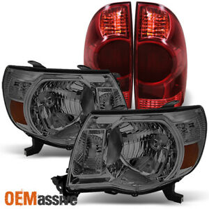 Fits 2005 2008 Toyota Tacoma Smoked Headlights Replacement Dark Red Tail Lights