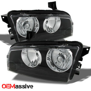 Fit Black 2006 2010 Dodge Charger Replacement Headlights Headlamps L R