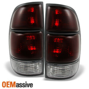 Fits 00 04 Toyota Tundra Pickup Dark Red Lens Taillights Brake Lamps Set