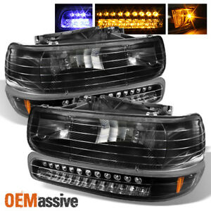 Fits Black 99 06 Silverado Suburban Tahoe Headlights Led Bumper Signal Lights