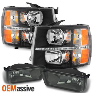 Fit 07 13 Silverado 1500 2500hd 3500hd Black Led Headlights Smoked Fog Lights