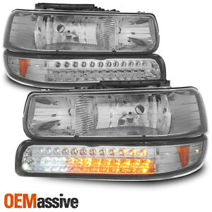 Fits Smoked 99 02 Silverado 00 06 Suburban Headlights led Bumper Signal Lights
