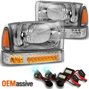 Fit 1999 2004 Ford F series 00 04 Excursion Headlights W led Bumper 8k Hid
