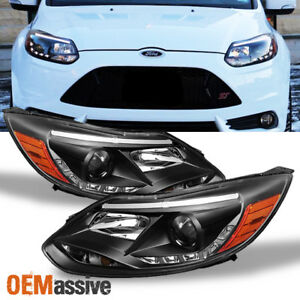 Fits 2012 2014 Ford Focus Drl Led Projector Black Headlights Lamps Left Right