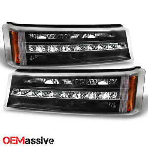 Fits 03 06 Chevy Silverado Avalanche Led Bumper Lights Turn Signal Lamps Black