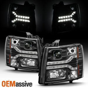 Fits 2007 2013 Chevy Silverado Pickup Dual Drl Led Black Projector Headlights