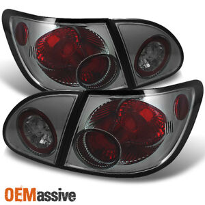 Fits 03 08 Toyota Corolla Smoked 4pcs Tail Brake Lights Lamp Pair W trunk Piece
