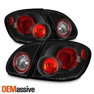 Fits 03 08 Toyota Corolla Black 4pcs Tail Brake Lights Lamps Pair W trunk Piece