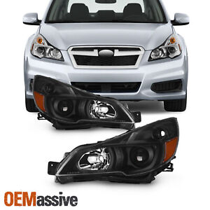 For 2010 2014 Subaru Legacy Outback Projector Black Headlights Pair Left right